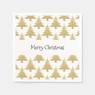elegant clear gold glitter Christmas tree pattern Paper Serviettes