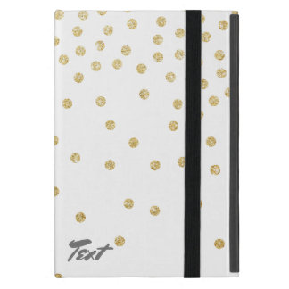 elegant clear gold glitter confetti dots pattern iPad mini case