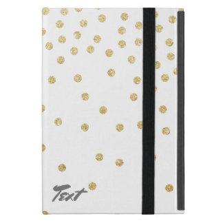 elegant clear gold glitter confetti dots pattern iPad mini cases
