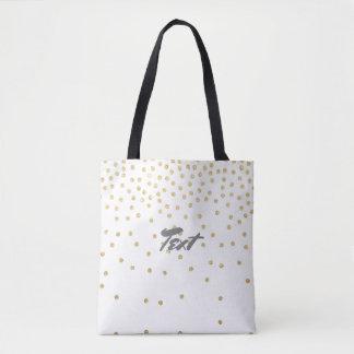 elegant clear gold glitter confetti dots pattern tote bag