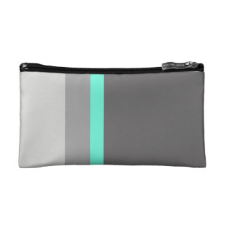 elegant clear mint grey stripes makeup bag