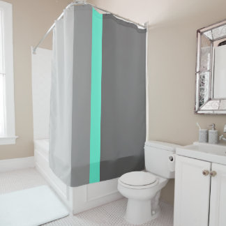 elegant clear mint grey stripes shower curtain
