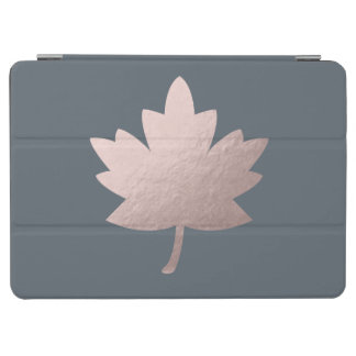elegant clear rose gold foil leaf iPad air cover