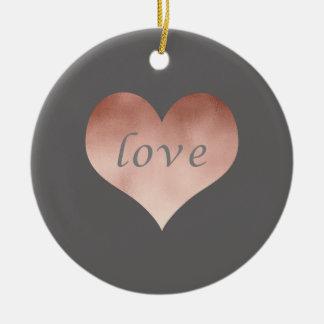 elegant clear rose gold foil love text heart round ceramic decoration