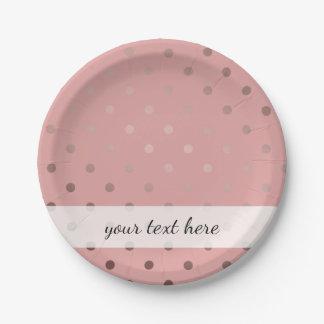 elegant, clear rose gold foil polka dots pattern 7 inch paper plate