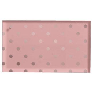 elegant, clear rose gold foil polka dots pattern table card holder