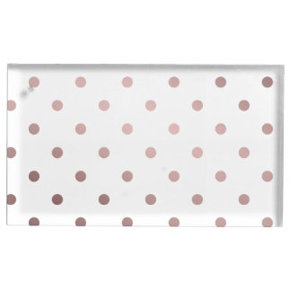 elegant, clear rose gold foil polka dots pattern table card holders