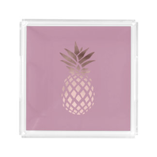 elegant clear rose gold foil tropical pineapple acrylic tray