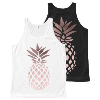 elegant clear rose gold foil tropical pineapple All-Over print tank top