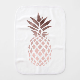 elegant clear rose gold foil tropical pineapple baby burp cloth