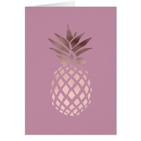 elegant clear rose gold foil tropical pineapple card