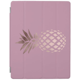 elegant clear rose gold foil tropical pineapple iPad cover