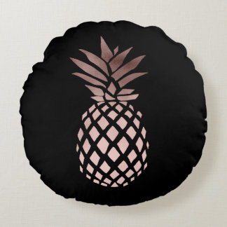 elegant clear rose gold foil tropical pineapple round cushion