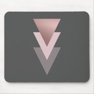 elegant clear rose gold geometric triangles mouse pad