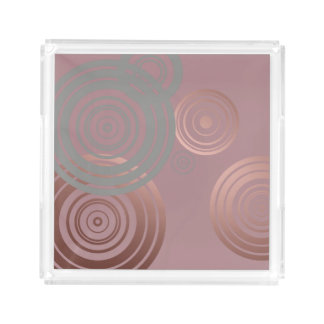 elegant clear rose gold grey geometric circles acrylic tray