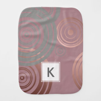 elegant clear rose gold grey geometric circles burp cloths