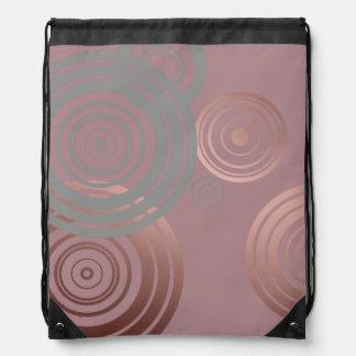 elegant clear rose gold grey geometric circles drawstring bag