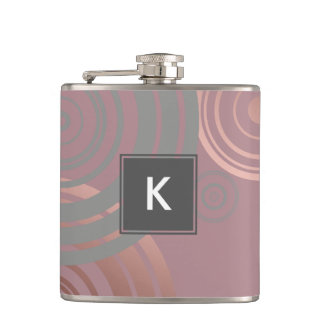 elegant clear rose gold grey geometric circles hip flask