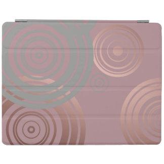 elegant clear rose gold grey geometric circles iPad cover