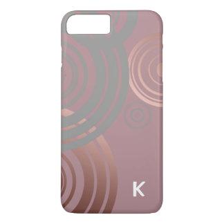 elegant clear rose gold grey geometric circles iPhone 8 plus/7 plus case