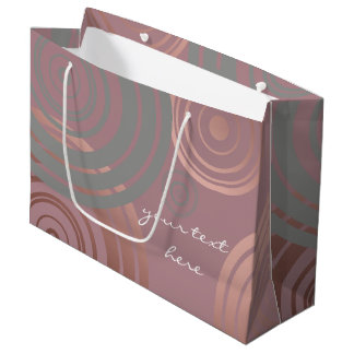 elegant clear rose gold grey geometric circles large gift bag