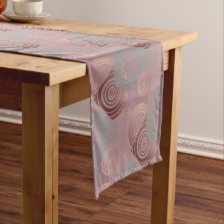 elegant clear rose gold grey geometric circles short table runner
