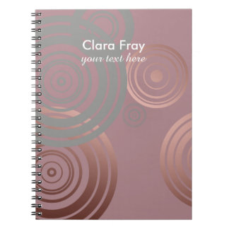 elegant clear rose gold grey geometric circles spiral notebook