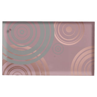 elegant clear rose gold grey geometric circles table card holder