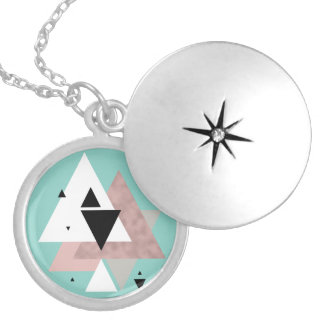elegant clear rose gold mint geometric triangles locket necklace