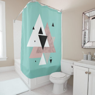 elegant clear rose gold mint geometric triangles shower curtain