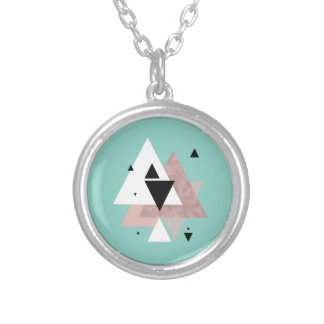 elegant clear rose gold mint geometric triangles silver plated necklace