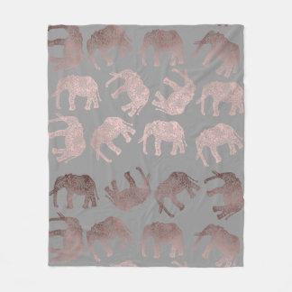 elegant clear rose gold tribal elephant pattern fleece blanket