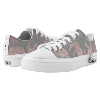 elegant clear rose gold tribal elephant pattern low tops
