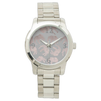 elegant clear rose gold tribal elephant pattern watch