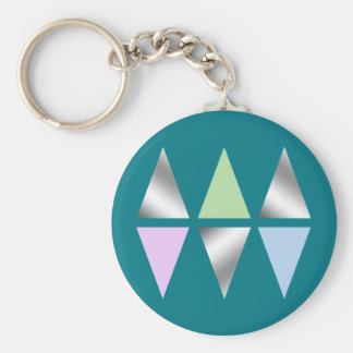 elegant clear silver triangles/diamons basic round button key ring