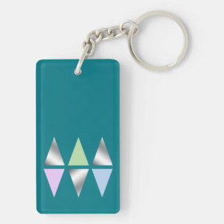 elegant clear silver triangles/diamons Double-Sided rectangular acrylic key ring