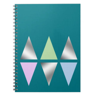 elegant clear silver triangles/diamons note books
