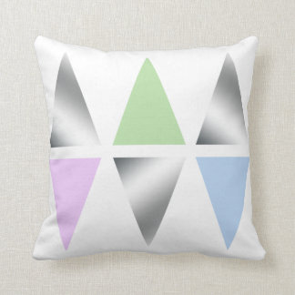 elegant clear silver triangles/diamons throw pillow