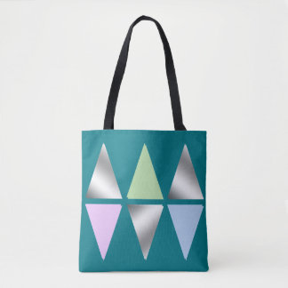 elegant clear silver triangles/diamons tote bag