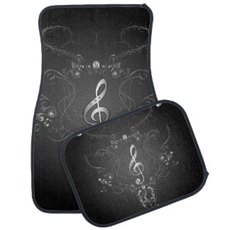Elegant  clef with floral elements car mat