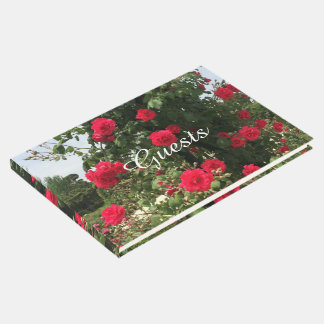 Elegant Climbing Red Roses Guest Book