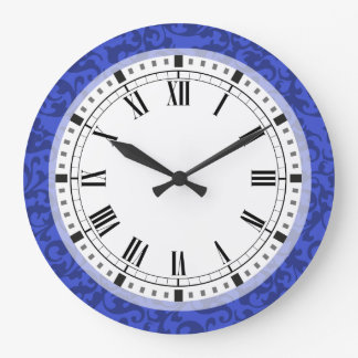 Elegant Cobalt Blue Damask Scrolls Large Clock