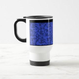 Elegant Cobalt Blue Damask Scrolls Travel Mug
