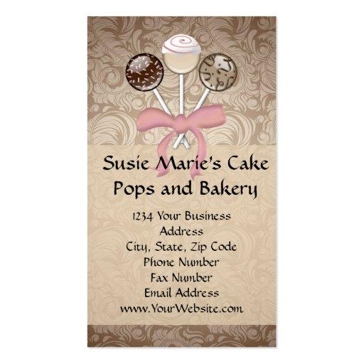 Elegant Cocoa Damask Cake Pop Business Cards