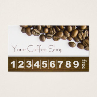 Elegant Coffee Beans Coffee Loyalty Business Card