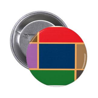 Elegant Color Collage n Gold line Border Pinback Button