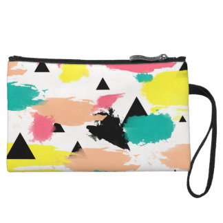 Elegant colorful abstract geometric pattern wristlet