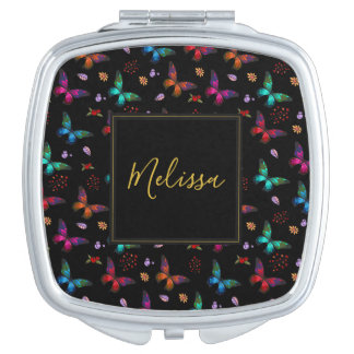 Elegant Colorful Butterflies on Black Compact Mirrors