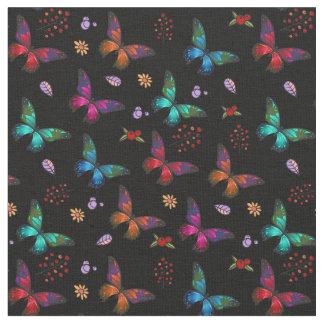 Elegant Colorful Butterflies on Black Fabric