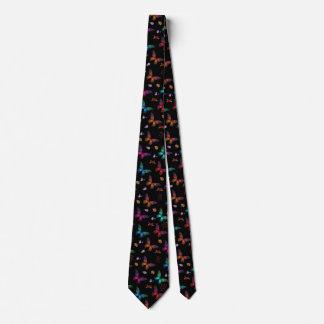 Elegant Colorful Butterflies on Black Tie